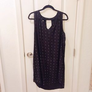 Black V-neck Tank Dress with Keyhole Back